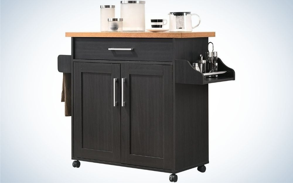 a black bar cart in the shape of a three drawers and towel rack and drawer with a black beech top.