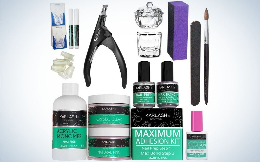 A professional set for building acrylic nails, an acrylic eraser and acrylic nail clipper.