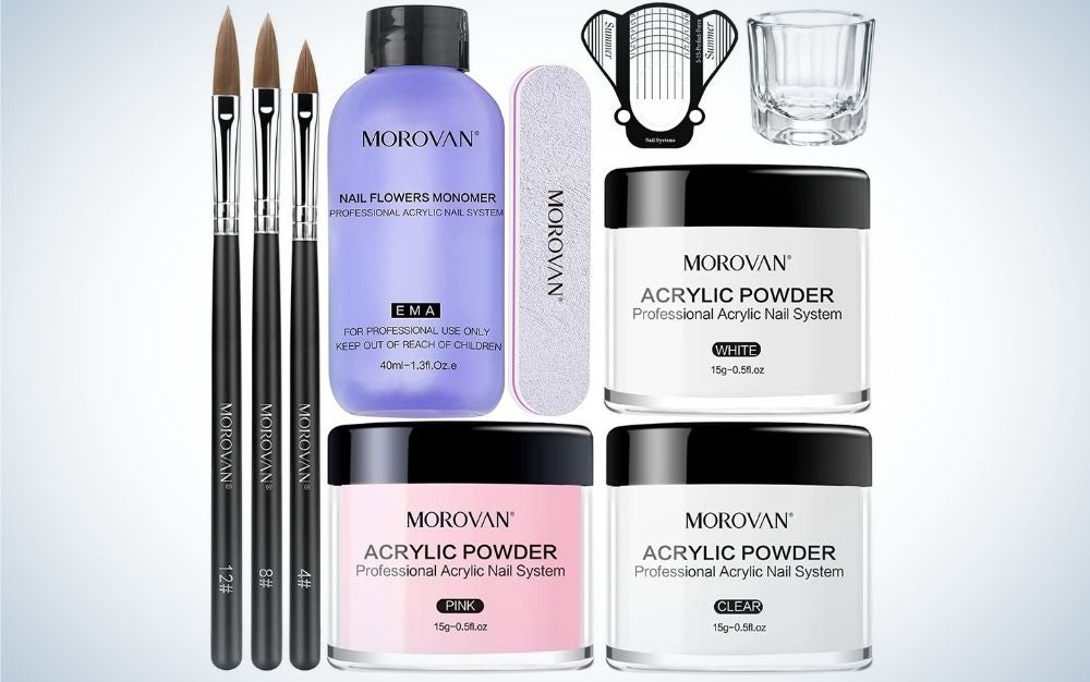 A whole set of brushes, nail gel and any other product that serves in nail care.