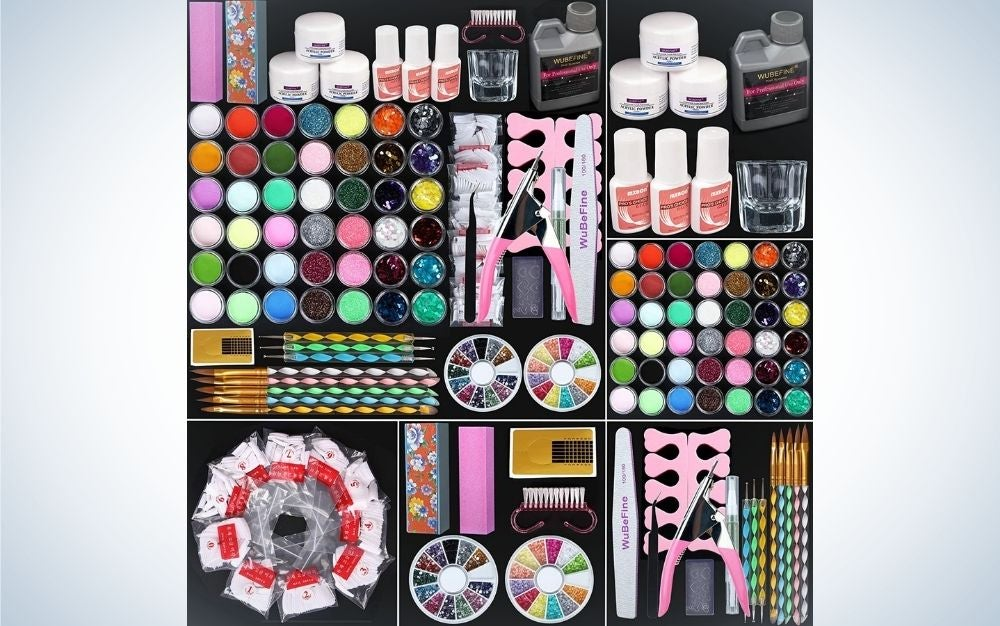 A set of professional manicures in different colors, glitter for designs and models, as well as tips for nail extensions.