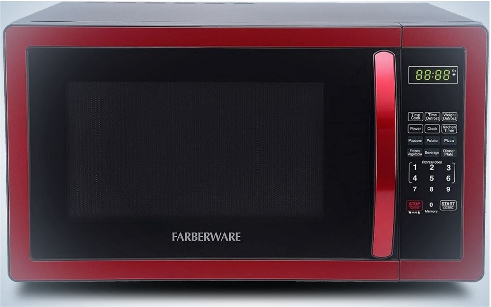 A red rectangular shape microwave with a black front glassy door.