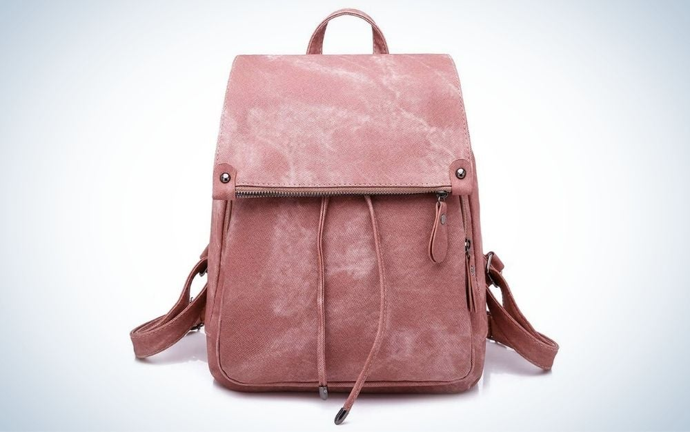 Pink anti-theft women's backpack with multiple pockets