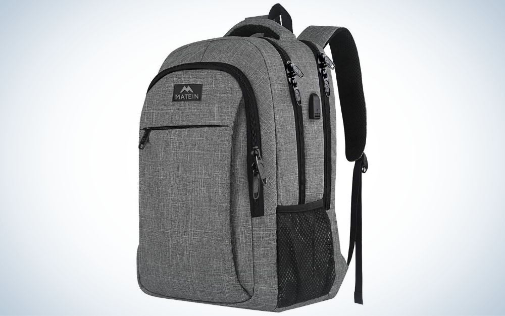 Gray travel backpack for women with USB charging port