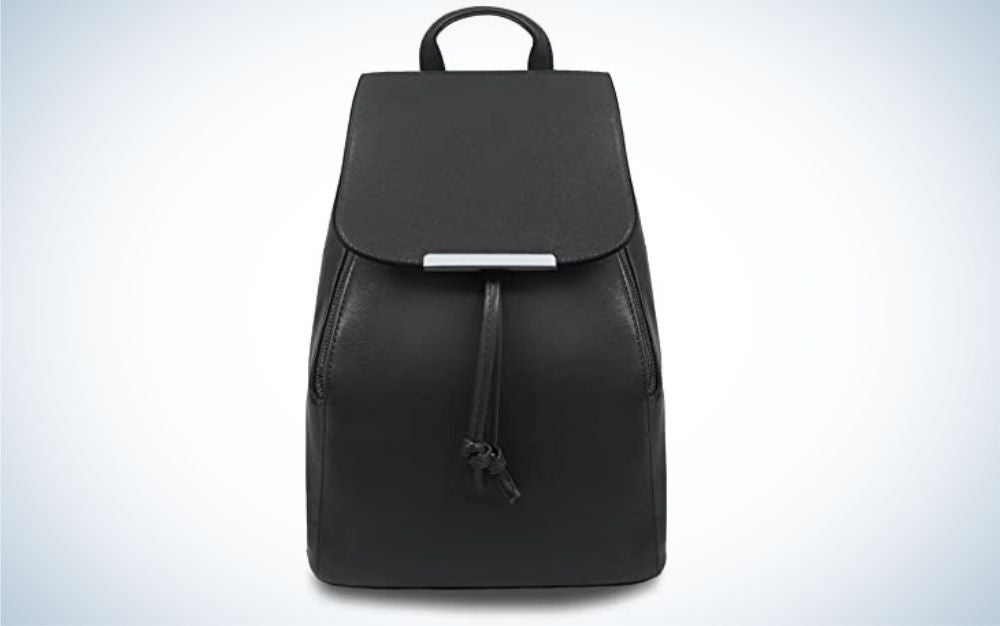 Black, leather anti theft women's backpack