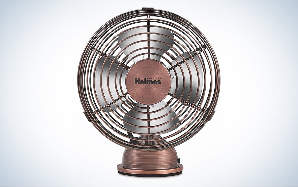 The Holmes Heritage 4-inch Mini USB Desk Fan is the best for tight spaces.