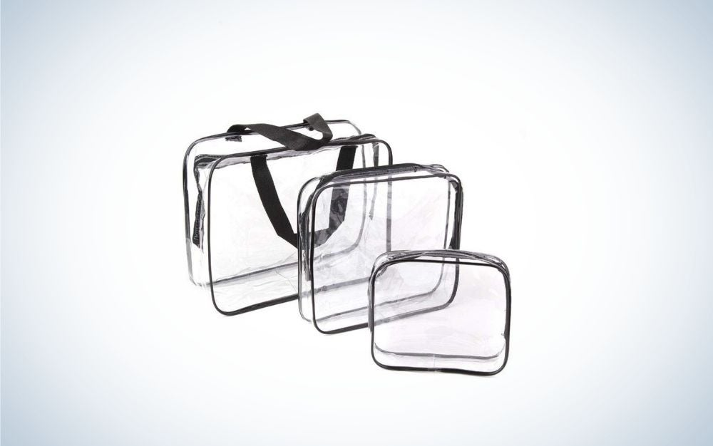 Three translucent bags with black chains and different sizes in a square shape.