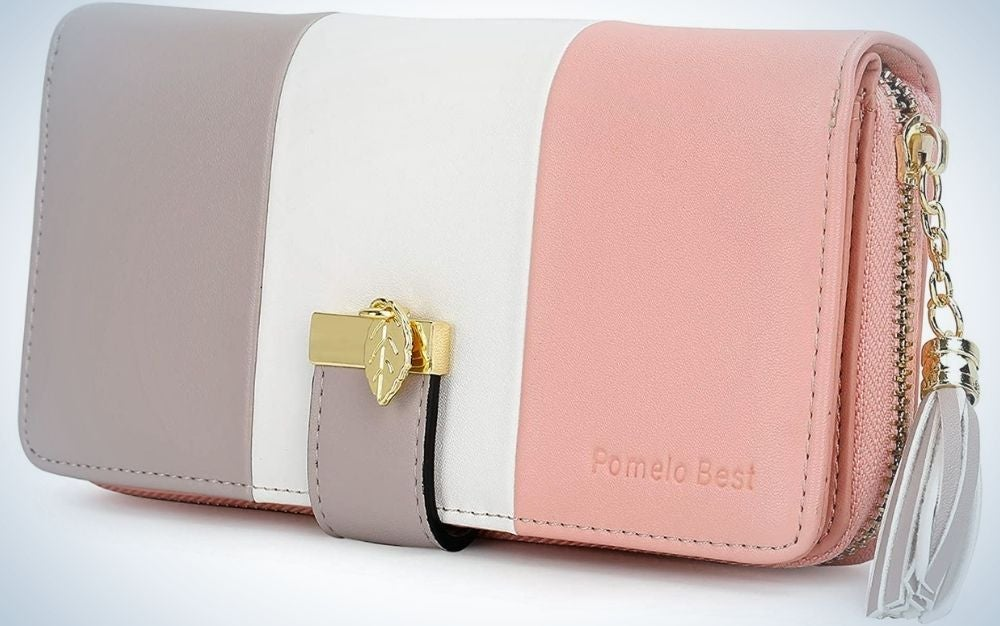 A wide rectangular women's wallet in white, rose and light pastel purple with a thin belt holder.