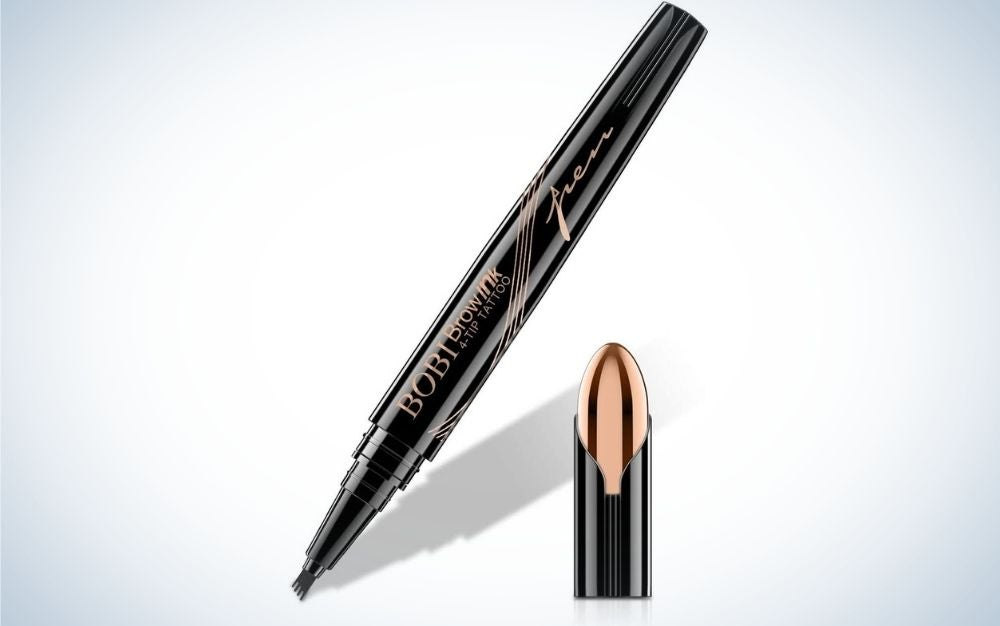 A thin and long eyebrow pencil and all black, with an open black lid and gold tip and a pencil with a wide tip in the brush.