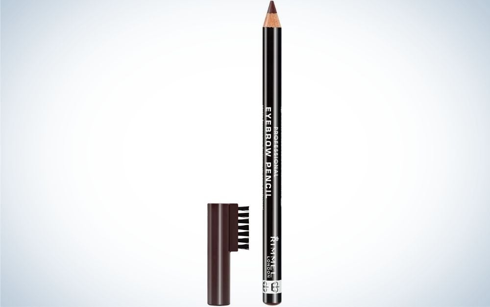 A thin and long eyebrow and black packaging with a brown tip, as well as a brown cap with a brush attached to it.