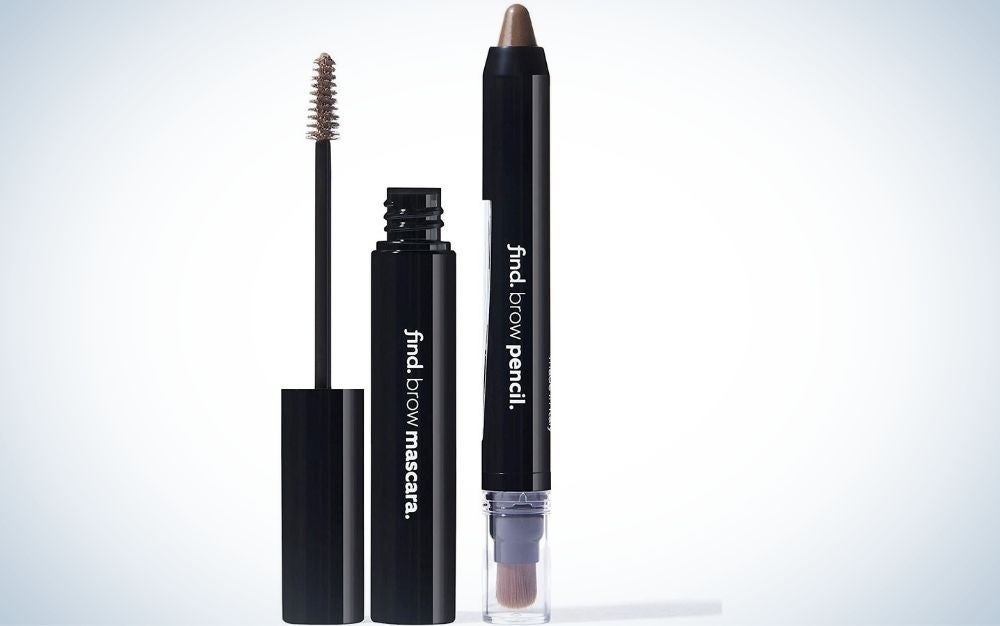 A black mascara with an open lid and near it a pencil on both sides, a brown color with a thick tip and the other with a tip in the form of a brush covered with a transparent lid.