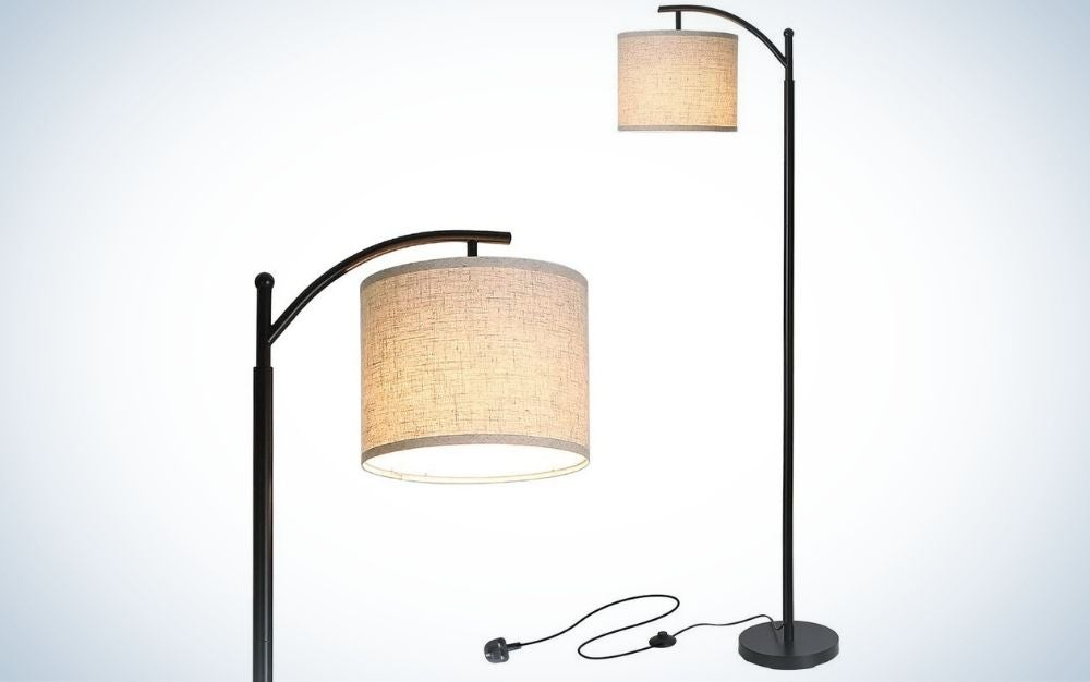Black, LED standing lamp with hanging lamp shade for living room