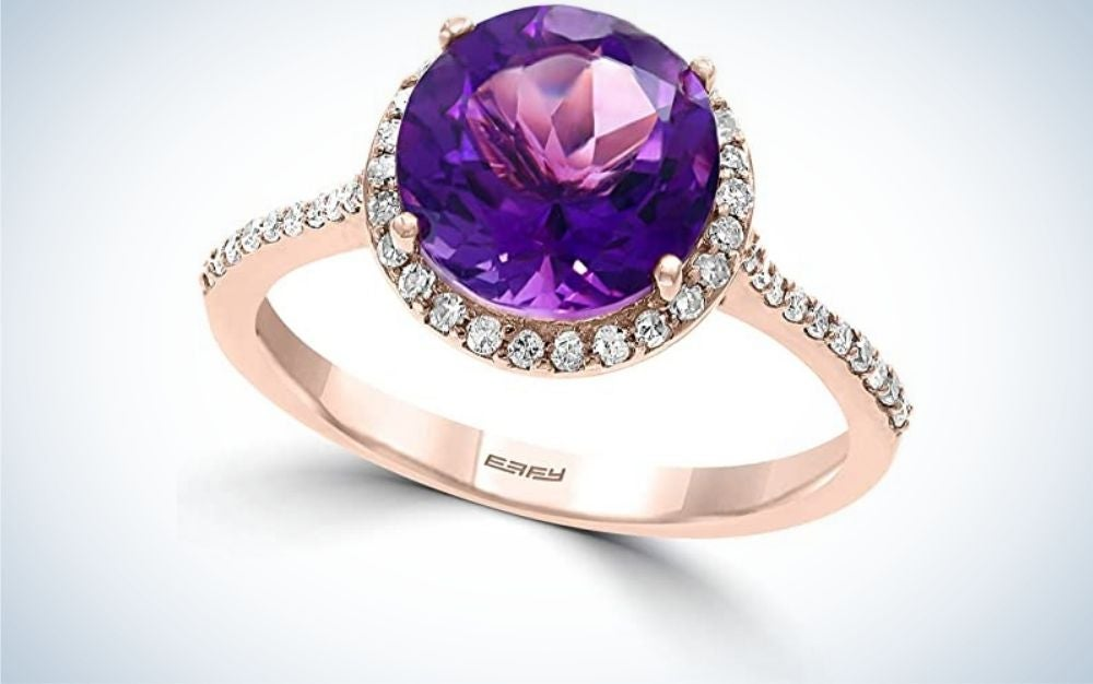 The Amethyst and Diamond Halo Ring is the best amethyst jewelry anniversary gift.