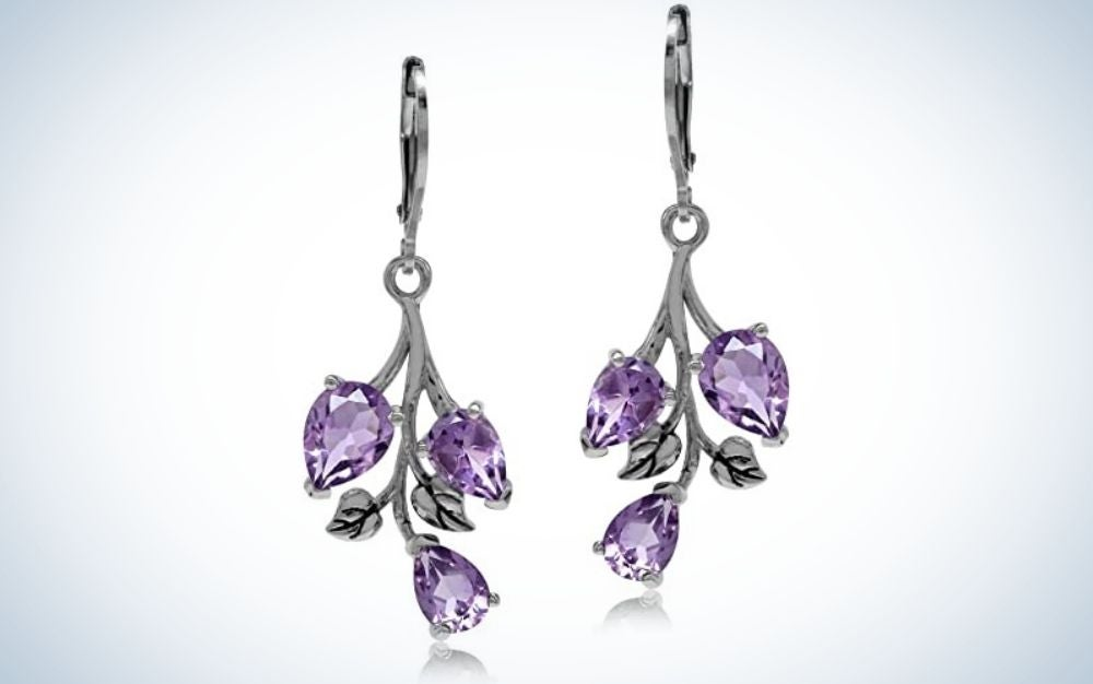 The Leaf Leverback Dangle Earrings are the best amethyst jewelry overall.